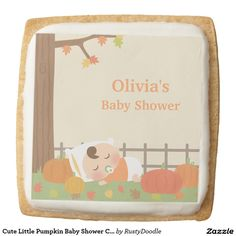 Cute Little Pumpkin Baby Shower Cookie Treats Square Premium Shortbread Cookie