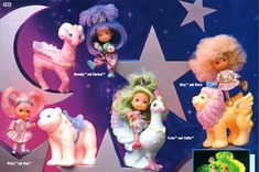 """MOONDREAMERS ~ """"New friends join the Star Finders. Frolic and her peacock pal, Fluffin, are ready to explore the uncharted universe. Stardust and her friend, Hornsby the ram, look for lonely planets in need of stars. 90s Toys, Retro Toys, Vintage Toys 80s, 80s Kids, Kids Tv, 90s Childhood, Childhood Memories, My Little Pony, Best 90s Cartoons"""
