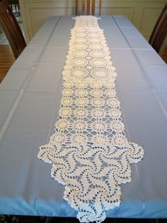 White Lace crocheted Table Runner for weddings or receptions