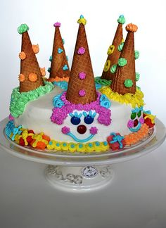 CLOWN CAKE -  with waffle cones and icing