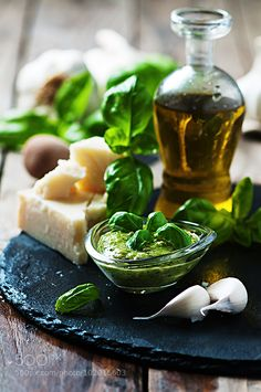Italian traditional pesto with basil chesse and oil by OxanaDenezhkina