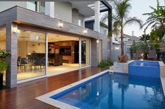 Backyard Pool Designs, Small Backyard Pools, Small Pools, Home Building Design, Home Room Design, Exterior Patio Doors, Small Pool Design, My Pool, Outdoor Kitchen Design