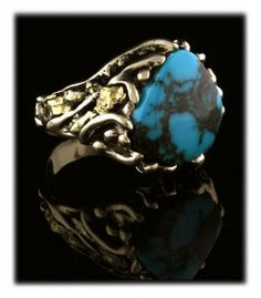 Gold Nugget Ring with Bisbee Turquoise from Bisbee Arizona by John Hartman.  TOP GEM GRADE