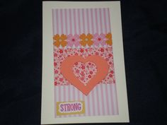 Pink pinstriped and Heart Birthday Card by giftcardsbynlo on Etsy, $3.95