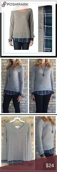 """Lightweight Gray Plaid Layered Look Tee SML Mix it up in this layered look gray long sleeve tee with plaid trim on sleeves & bottom. Great with leggings, jeans & shorts. Very lightweight with a little stretch. Poly/Cotton/Spandex Junior Sizes  Small  Chest Laying Flat 15"""" Length 22""""  Medium  Chest Laying Flat 16.5"""" Length 24""""  Large Chest Laying Flat 18.5"""" Length 24"""" marled knit top Tops Tees - Long Sleeve"""