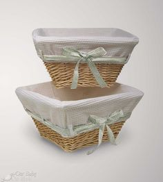 Badger Basket Natural Wicker Nursery Baskets with White Liners and Four Ribbons (Set of 2)