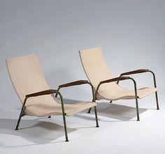 Jean Prouvé; #351 Enameled Metal, Wood and Canvas 'Visiteur Type Tropique' Lounge Chairs, 1951.