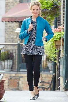 Christopher-Banks-September. I have this jacket in this color & the leggings in black. Both are very nice. Love the jacket, looks & feels like real leather & the teal color is gorgeous. I purchased the jacket in a cream color also.