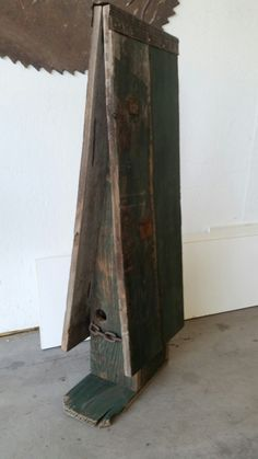 Tall green barnwood birdhouse