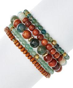 Look what I found on #zulily! Moss Agate & Wood Beaded Stretch Bracelet Set #zulilyfinds