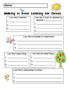Science: nature walk.  Make something like this in science journal for each walking trip we take