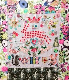 'Spring Fever', a new project by Marg Sampson-George that she will teach in her August workshop at Hettie's. Wool Applique, Applique Quilts, Applique Templates, Book Quilt, English Paper Piecing, Mini Quilts, Hand Quilting, Crochet Yarn, Yarn Crafts