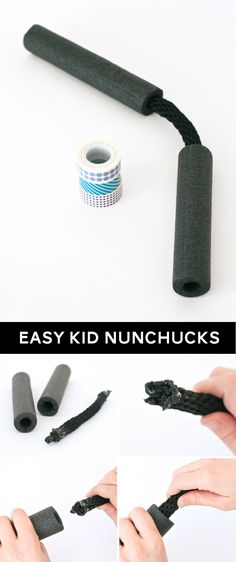 Ninja Costume: No-Sew Halloween Costume Ideas Easy Kid-friendly foam Nunchucks tutorial at Lego Ninjago, Ninjago Party, Lego Lego, Lego Batman, Legos, Ninja Turtle Party, Ninja Turtle Birthday, Karate Birthday, Ninja Turtles