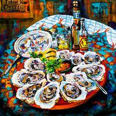 Slap dem Oysters! Painting, Louisiana Seafood, Raw Oysters New Orleans Food Art, Louisiana Raw Oysters, Louisiana Art by New Orleans Artist