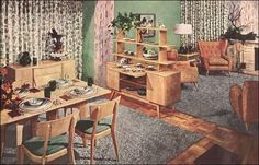 1950s living and dining room