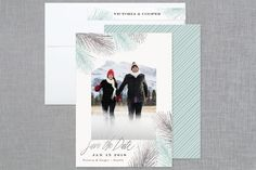 """Winter Pine"" - Destination Foil-pressed Save The Date Cards in Gold by Hooray Creative."