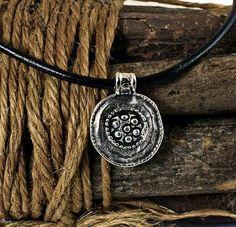 Ethnic Necklace Leather Tribal Pendant by sunnybeadsbythesea