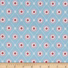 Buttercream Geometric Aqua Fabric