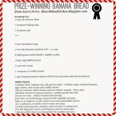 Blue Ribbon Kitchen: Prize-Winning Banana Bread - swapped out sour cream for vanilla greek yogurt Prize Winning Recipe, Award Winning Banana Bread Recipe, Best Banana Bread, Sour Cream Banana Bread, Banana Bread Recipes, Blue Ribbon Banana Bread Recipe, Cake Recipes, Top Recipes, Chili Recipes