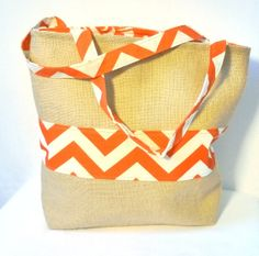Orange Chevron & Burlap Tote by hippiebaglady on Etsy, $30.00