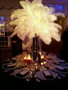 ostrich feather and pearl centerpieces - Google Search