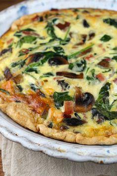 Great Ham, Spinach & Mushroom Quiche - Miss in the Kitchen