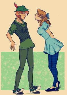 Peter Pan and Wendy (OTP) fan art. cute.