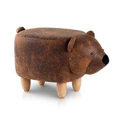 Artiss Kids Ottoman Animal Stool Bear Wood Footstool Fabric Brown -