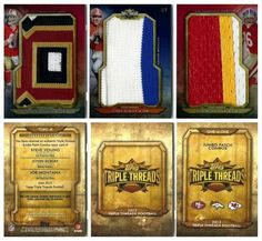 2012 Topps Triple Threads TTJPC-8 Jumbo Patch Combo (w/ Steve Young, John Elway, Joe Montana) (#1/1)