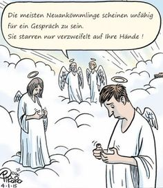 their Hands in Despair Bizarro in heaven without cell phonesBizarro in heaven without cell phones Funny Shit, The Funny, Funny Jokes, Hilarious, Funny Laugh, Funny Stuff, Humor Religioso, Christian Cartoons, Christian Jokes