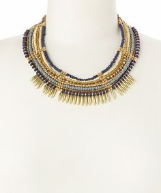 Another great find on #zulily! Gold & Blue Beaded Tribal Necklace #zulilyfinds