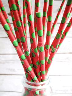 25 RED Paper Straws With Large GREEN Polka by CandyCupcakeShop