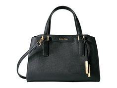 CALVIN KLEIN On My Corner Saffiano Satchel. #calvinklein #bags #shoulder bags #hand bags #leather #satchel #lining #