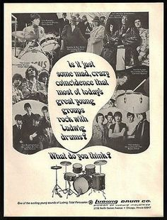 Ludwig Drum Company Rock with Ludwig Drums 1969 Ad