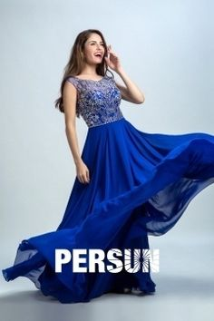 Persun Scoop Backless Crystal Details Long Prom Dress Cheap Prom Dresses Uk, Formal Dresses, Formal Wear Women, Chiffon, Bustier, Formal Prom, Dress P, Evening Dresses, Backless