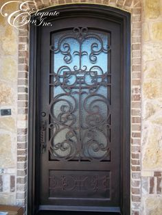 Custom wrought iron door, with scrollwork on footboard. Decor, Doors, Single Doors, Front Yard, Footboard, Wrought Iron Doors, Home Decor, Iron Doors