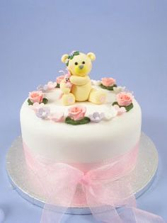 Claydough Teddy Holding Pink Rabbit, Pack Of 5 Pink Icing Roses & Pack Of 20 Icing Pink, White & Lilac Blossoms