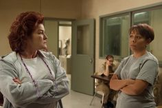 Kate Mulgrew as Galina Reznikov and Selenis Leyva as Gloria Mendoza in ' Orange Is the New Black. Description from dailyslate.com. I searched for this on bing.com/images