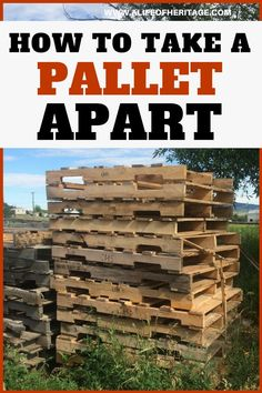 Pallet projects are fun but usually you will need to take them apart to work with them. Here's an easy way to take a pallet apart! via Delci Wooden Pallet Projects, Wooden Pallet Furniture, Pallet Crafts, Wooden Pallets, Pallet Ideas, Pallet Wood, Outdoor Pallet, Wood Ideas, Furniture Ideas