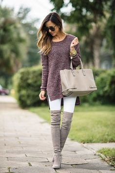 @roressclothes closet ideas #women fashion outfit #clothing style apparel gray high boots Cute Outfit