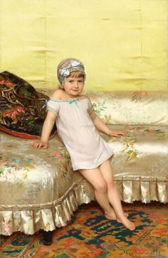Michele Gordigiani : The Silk Divan 1879