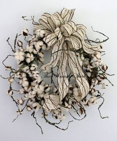 Primitive Cotton Wreath, Cotton Boll Wreath, Raw Cotton Bolls, Anniversary Gift, Southern Decor, Everyday Wreaths, Unique Bow, Country Decor