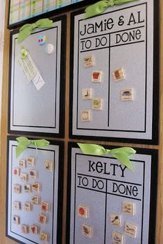 "Great idea for a chore chart that is simple and easy for little kids to use! Uses magnets with pictures to move from ""to do"" to ""done"" when finished! Great if they're not reading yet!"