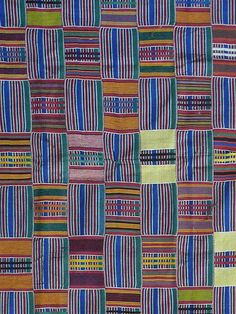 Africa | Detail from a wrapper from the Ewe people of Ghana | Cotton; strip woven.