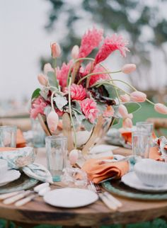 example of pink ginger   Gorgeous colours! via Style Me Pretty |  Photo by Elizabeth Messina