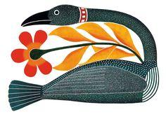Kenojuak Ashevak Floral Passage, Inuit prints from Cape Dorset at Home & Away Gallery Inuit Kunst, Arte Inuit, Inuit Art, Native Art, Native American Art, Native Canadian, American Artists, Illustrations, Illustration Art
