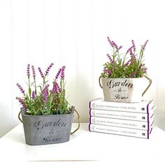 Delightful Silk Plants In Planters Lavender Flower Arrangement Home Décor 2 Pc Set
