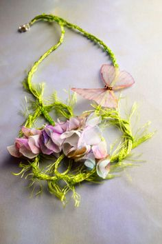 fiber art necklace, available http://www.FiveOClocks.etsy.com