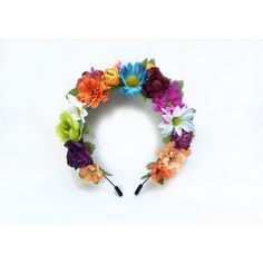 Frida Flower Crown Flower Crown Frida Kahlo Costume Day of the Dead... ($42) ❤ liked on Polyvore featuring accessories, hair accessories, black, headbands & turbans, thin headbands, metal headband, flower hair accessories, flower headband and turban headband