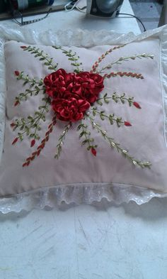 Best 11 Ribbon Embroidery Flowers by Hand – SkillOfKing. Cushion Embroidery, Floral Embroidery Patterns, Embroidered Cushions, Hand Embroidery Designs, Embroidery Stitches, Embroidery Kits, Ribbon Embroidery Tutorial, Silk Ribbon Embroidery, Ribbon Art